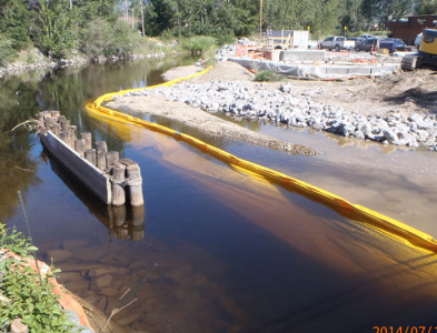Turbidity Curtains Used During Bridge Replacement in Salmon Arm, B.C., Canada